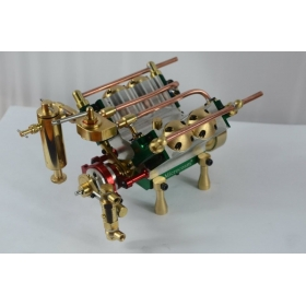V4-Cylinder Steam Engine Models (With Steam Boiler Feed Pump)