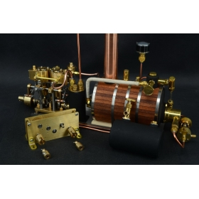 New Two-cylinder steam engine with Steam BoilerWith Brass Decele